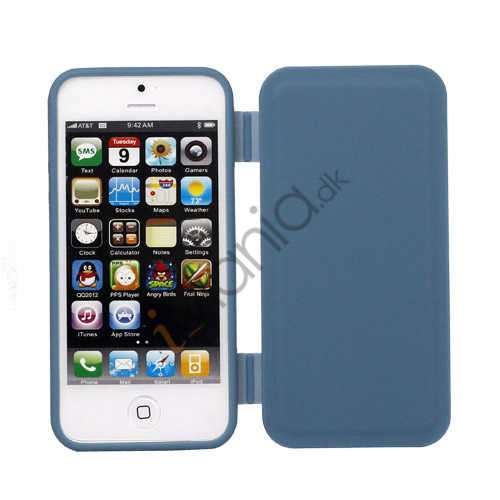 Dobbelt For- og bagside TPU Gel Cover Case til iPhone 5 - Blå