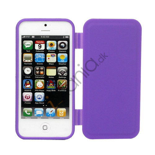 Dobbelt For- og bagside TPU Gel Case iPhone 5 cover - Lilla