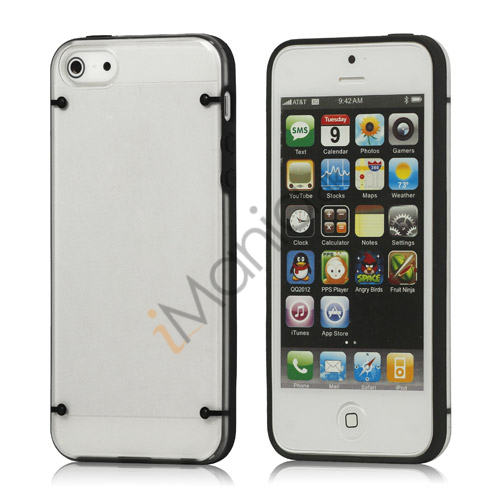 Selvlysende glitrende Powder Plastic  and  TPU Combo Case iPhone 5 cover - Sort