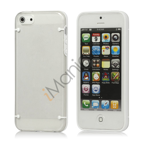 Selvlysende glitrende Powder Plastic  and  TPU Combo Case iPhone 5 cover - Hvid
