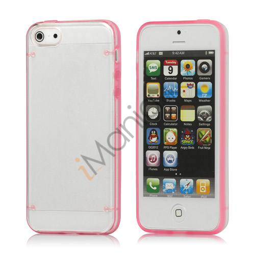 Selvlysende Transparent Plastic & TPU Combo Case iPhone 5 cover - Pink