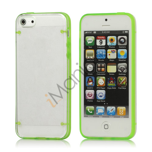 Selvlysende Transparent Plastic  and  TPU Combo Case iPhone 5 cover - Grøn