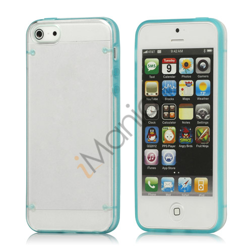 Selvlysende Transparent Plastic  and  TPU Combo Case iPhone 5 cover - Blå