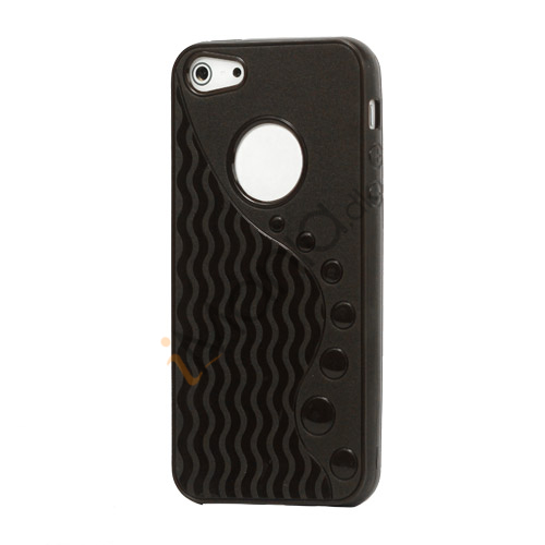 Anti-slip Bølge TPU Case iPhone 5 cover - Sort