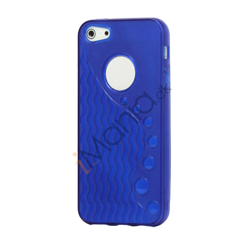 Anti-slip Bølge TPU Case iPhone 5 cover - Mørk Blå