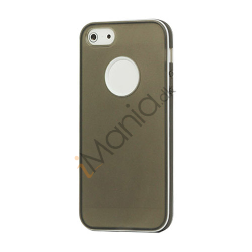 Image of   Hvid-kantede Frosted Gel TPU Case iPhone 5 cover - Grå