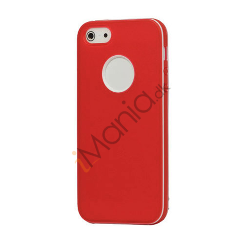 Image of   Hvid-kantede Frosted Gel TPU Case iPhone 5 cover - Rød