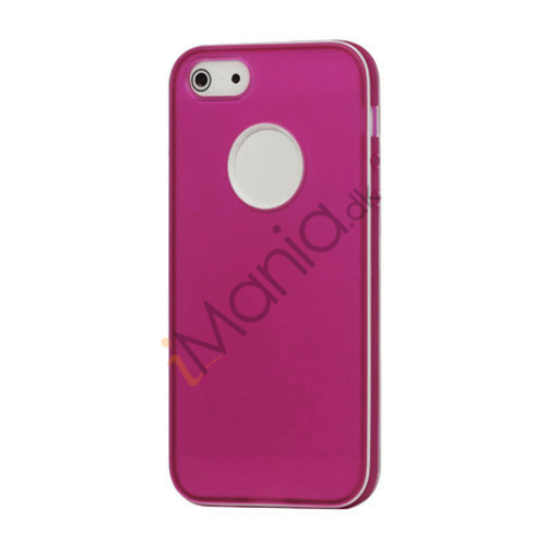 Hvid-kantede Frosted TPU Gel Case iPhone 5 cover - Violet