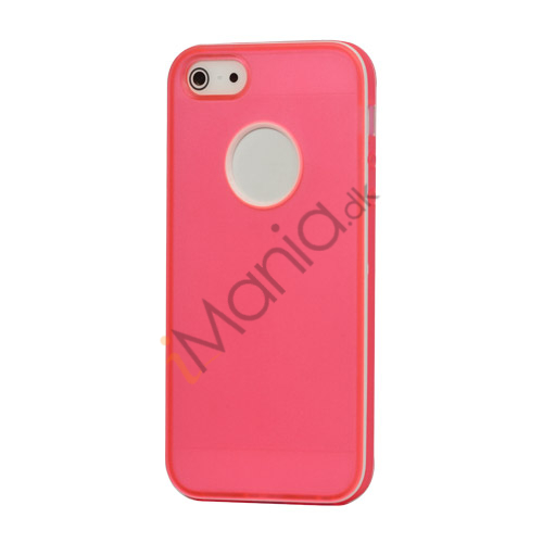 Hvid-kantede Frosted Gel TPU Case iPhone 5 cover - Pink