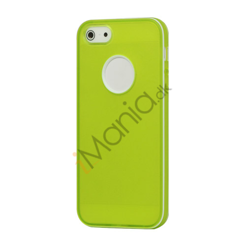 Image of   Hvid-kantede Frosted Gel TPU Case iPhone 5 cover - Grøn