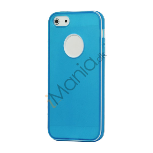 Hvid-kantede Frosted TPU Gel Case iPhone 5 cover - Mørkeblå