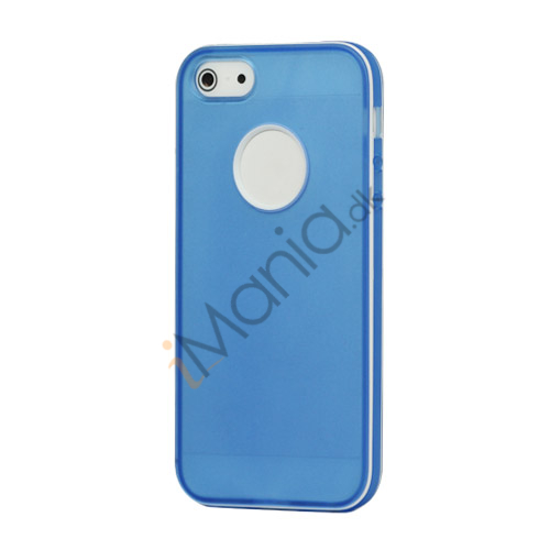 Hvid-kantede Frosted Gel TPU Case iPhone 5 cover - Baby Blå