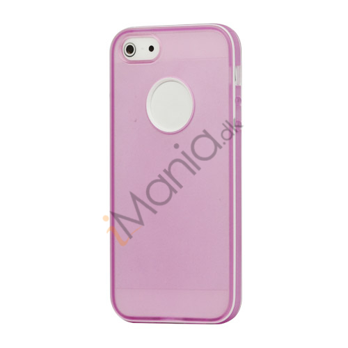Hvid-kantede Frosted Gel TPU Case iPhone 5 cover - Lilla