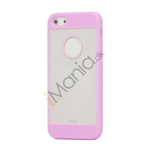 Mat Plastic  and  TPU Combo Cover Case til iPhone 5 - Light Lilla