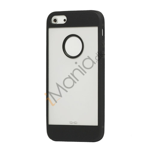 Mat Plastic  and  TPU Combo Cover Case til iPhone 5 - Sort