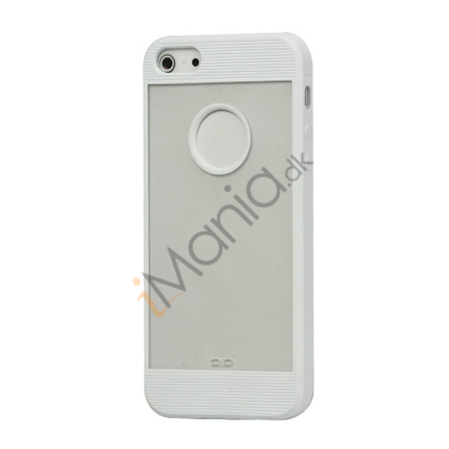 Mat Plastic  and  TPU Combo Cover Case til iPhone 5 - Hvid