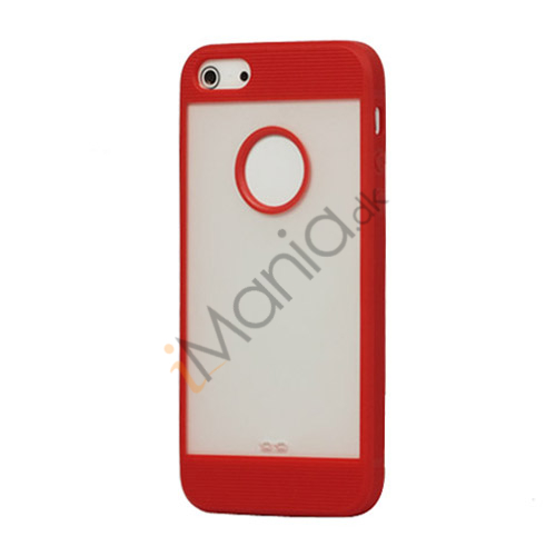 Mat Plastic  and  TPU Combo Cover Case til iPhone 5 - Rød