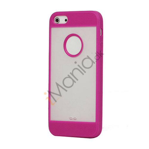 Mat Plastic  and  TPU Combo Cover Case til iPhone 5 - Lilla