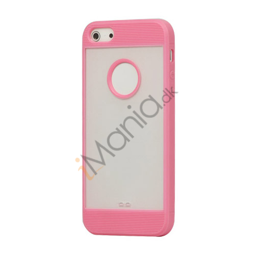 Mat Plastic  and  TPU Combo Cover Case til iPhone 5 - Pink