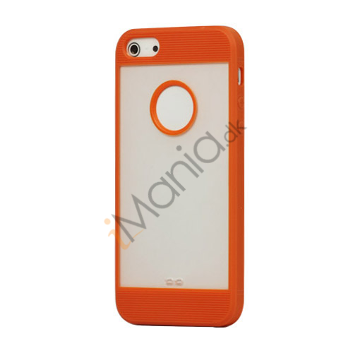 Mat Plastic  and  TPU Combo Cover Case til iPhone 5 - Orange
