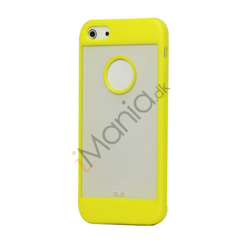 Mat Plastic  and  TPU Combo Cover Case til iPhone 5 - Gul