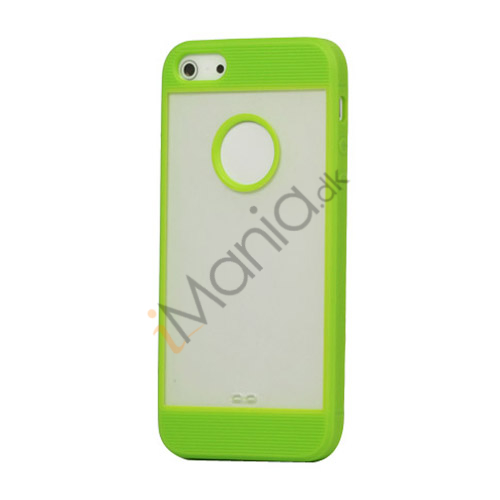 Mat Plastic  and  TPU Combo Cover Case til iPhone 5 - Grøn