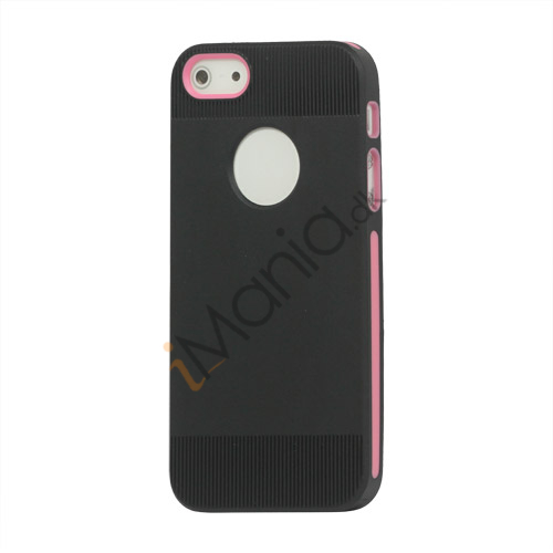 To-tone iPhone 5 TPU Gel Case Cover med Round Cutout - Sort / Pink