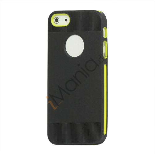 To-tone iPhone 5 TPU Gel Case Cover med Round Cutout - Sort / Gul