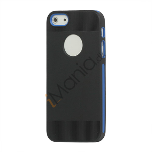 To-tone Gel TPU Case Cover med Round Cutout til iPhone 5 - Sort / Blå