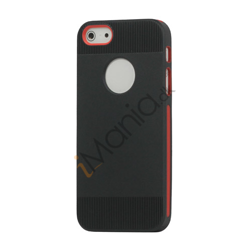 To-tone Gel TPU Case Cover med Round Cutout til iPhone 5 - Sort / Rød