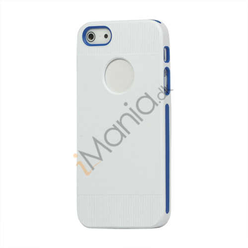 To-tone Gel TPU Case Cover med Round Cutout til iPhone 5 - Hvid / Blå