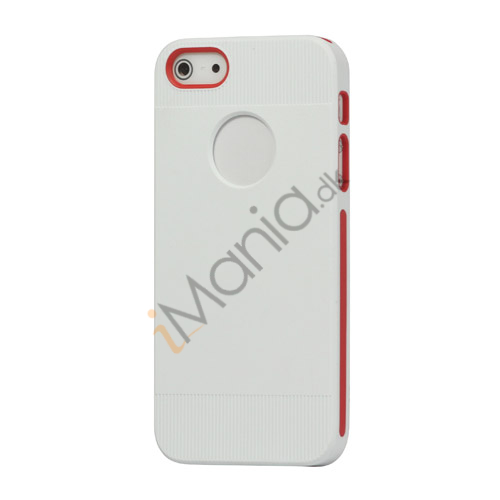 To-tone Gel TPU Case Cover med Round Cutout til iPhone 5 - Hvid / Rød