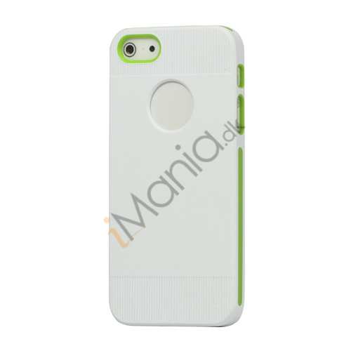 To-tone Gel TPU Case Cover med Round Cutout til iPhone 5 - Hvid / Grøn