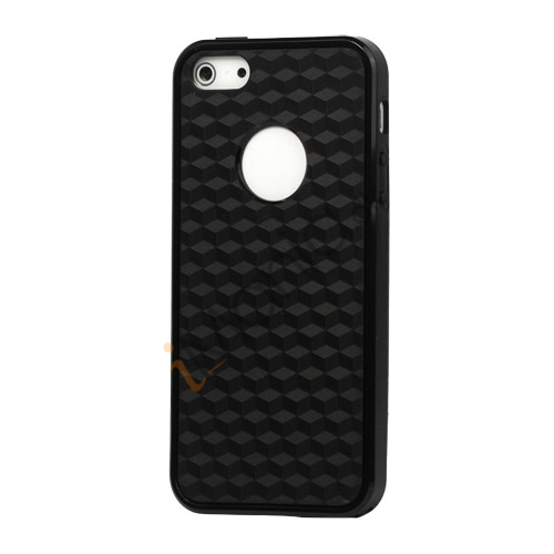 Cube Square TPU Cover Case til iPhone 5 - Sort
