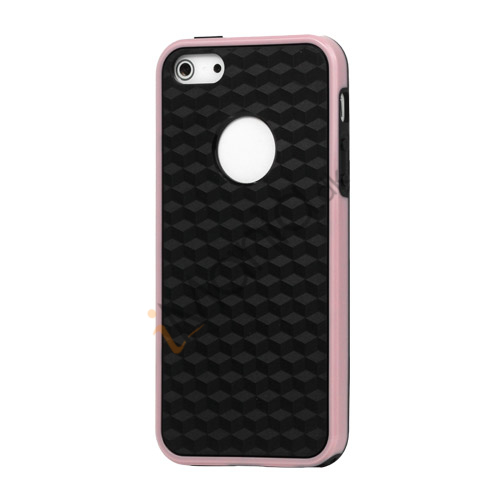 Cube Square TPU Cover Case til iPhone 5 - Pink