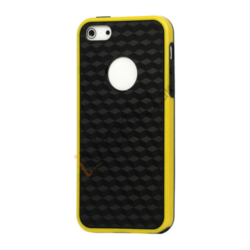 Cube Square TPU Cover Case til iPhone 5 - Gul