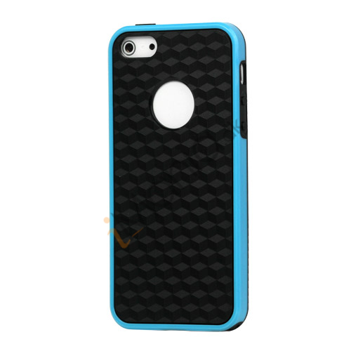 Cube Square TPU Cover Case til iPhone 5 - Blå