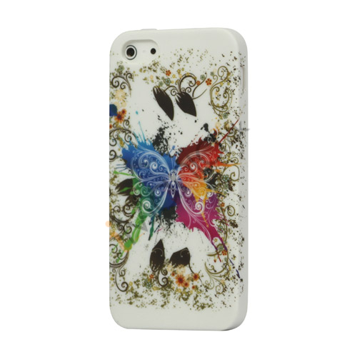 Farverige Sommerfugl Gel TPU Skin Case iPhone 5 cover
