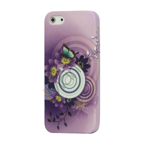 Violette blomster og Sommerfugl TPU Taske Shell til iPhone 5