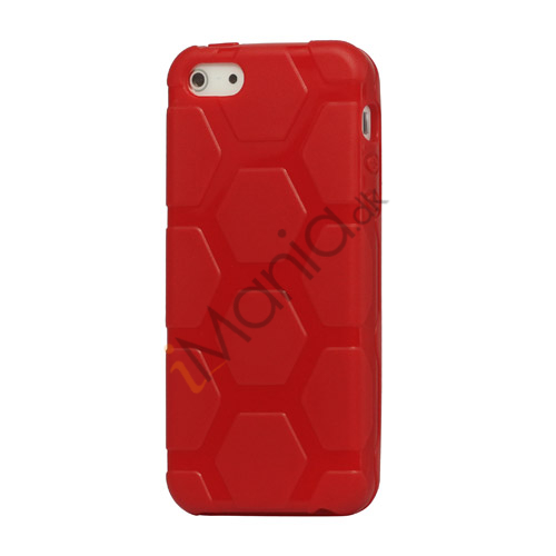 Anti-slip Fodbold Mønster TPU Case iPhone 5 cover - Rød