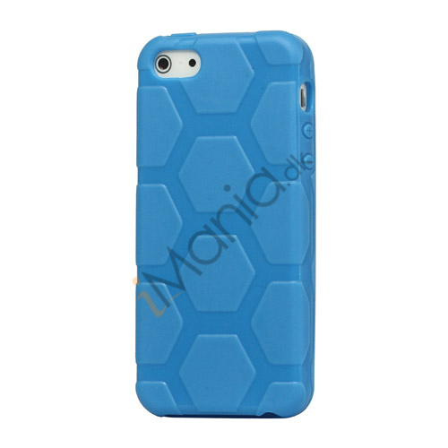 Image of   Anti-slip Fodbold Mønster TPU Case iPhone 5 cover - Baby Blå