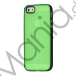 Image of   Two-color Frosted TPU and Plastic Combo Case iPhone 5 cover - Sort / Grøn