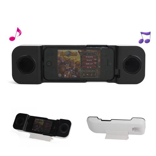 Transportabel Plastic  and  Silicone Telefonrør Lydforstærker med Holder til iPhone 5 - Sort / Hvid