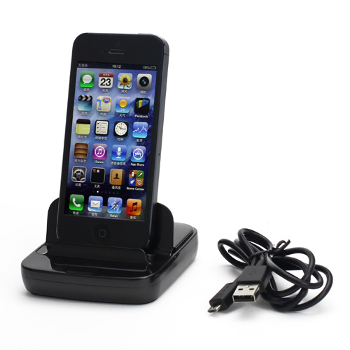 Flip Style Data Sync Holder / Bordlader til iPhone 5 - Sort
