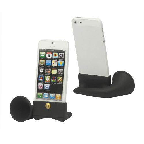 Silicone Horn Holder Forstærker Højttaler til iPhone 5 - Sort