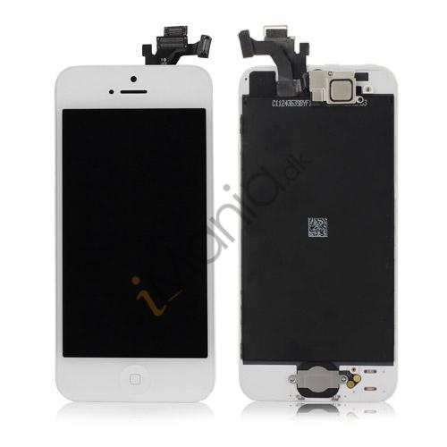 Billede af iPhone 5 LCD og Digitizer Sæt inkl. Tryksensor + Digitizer Ramme + Front Kamera + Home-knap + Homeknap Holder - Hvid