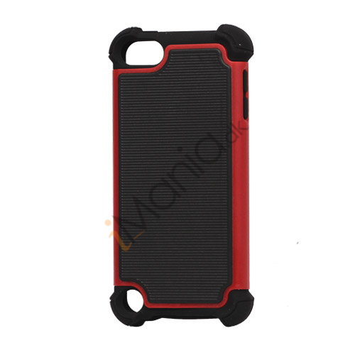 Vandret Striber Silicone  and  Plastic Combo Case Cover til iPod Touch 5 - Sort / Rød