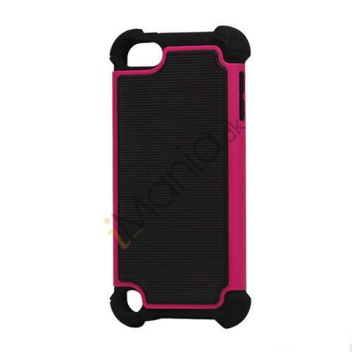 Vandret Striber Silicone  and  Plastic Combo Case Cover til iPod Touch 5 - Sort / Rose