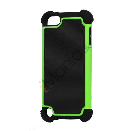 Vandret Striber Silicone  and  Plastic Combo Case Cover til iPod Touch 5 - Sort / Grøn