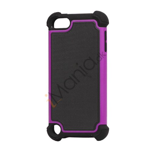 Vandret Striber Silicone  and  Plastic Combo Case Cover til iPod Touch 5 - Sort / Lilla
